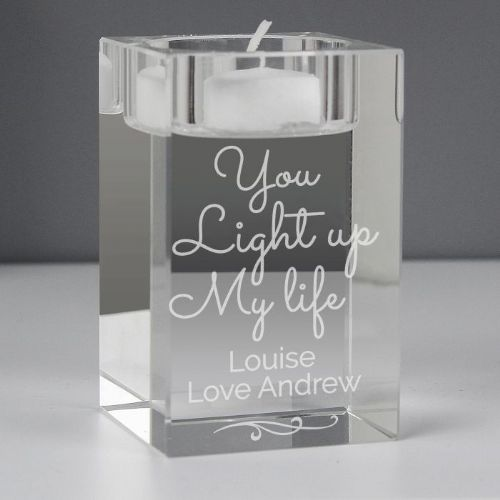 Personalised Light Up My Life Glass Tea Light Holder